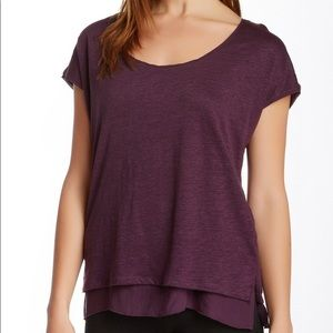 Vince Linen Silk Double layer purple Tee Small